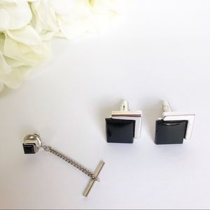 Other - Men's Silver Black Onyx Cuff Links & Tie Tack Set